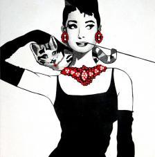 Audrey i el gat. 50x61 cm