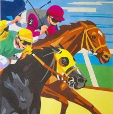 Carrera de cavalls. 50x61 cm