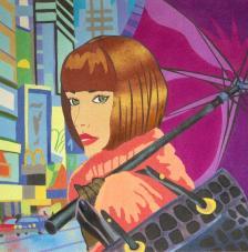 Dona amb paraigües. 50x61 cm