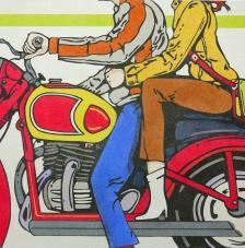Parella moto. 50x61 cm