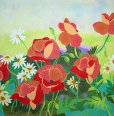 Poppies & Daisies. 38x46 cm