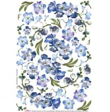 Blue Flower decoupage paper 35x50 cm
