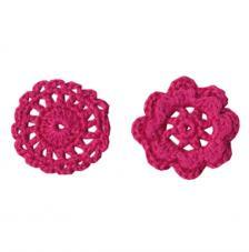 6 adorno ganchillo flores fucsias 4,5 cm
