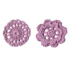 6 adorno ganchillo flores lilas 4,5 cm