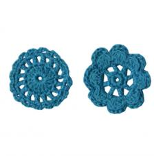 6 adorno ganchillo flores turquesas 4,5 cm