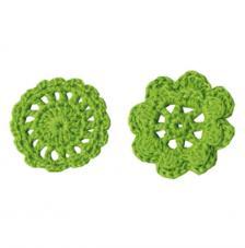 6 adorno ganchillo flores verdes 4,5 cm