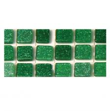 Mosaico poliresina verde gliter 5x5mm.144 pzas