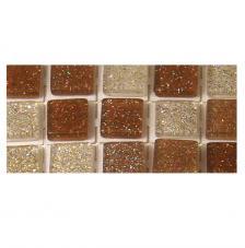 Mosaico poliresina marron gliter 5x5mm.144 pzas