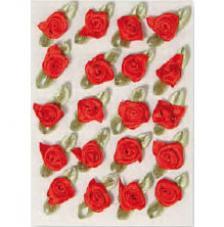 20 flores poliester adhesivas rojas 1cm