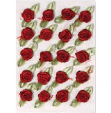 20 flores poliester adhesivas vino 1cm
