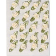 20 flores poliester adhesivas crema 1cm