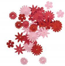 36 flores papel rojas.1,5 y 2,5 cm