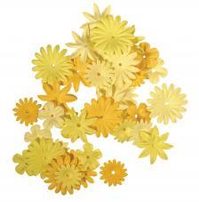 36 flores papel amarillas.1,5 y 2,5 cm