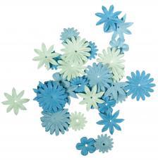 36 flores papel azules.1,5 y 2,5 cm