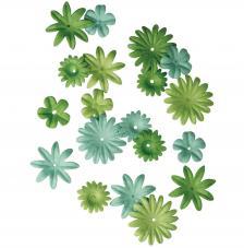36 flores papel verdes.1,5 y 2,5 cm