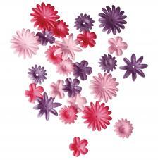 36 flores papel rosas.1,5 y 2,5 cm