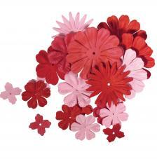 24 flores papel rojo y rosa. 2,5 y 7 cm