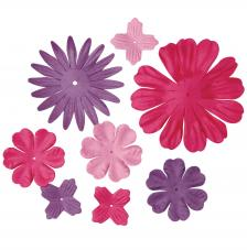 24 flores papel rosas. 2,5 y 7 cm