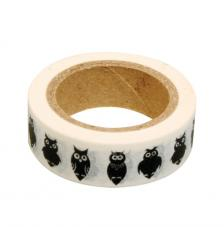 Washi Tape buhos negros 15mm rollo 15m