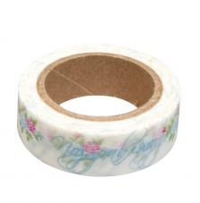 Washi Tape rosas 15mm rollo 15m