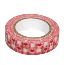 Washi Tape corazones y cuadros 15mm rollo 15m