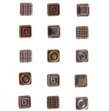 15 brads metálicos cuadrados. Vintage
