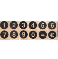 12 sellos madera números circulo. 1x1 cm