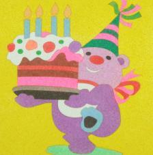 Oso cumpleaños. 20x18 cm precortado