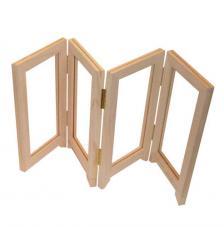 Biombo de madera hueco. Formato zig-zag