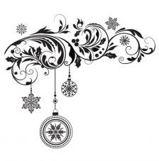 Rubber Stamp A6 Baubles Flourish