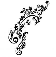 Rubber Stamp A7 Holly Flourish Dinkie