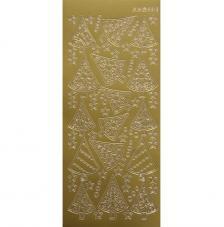 Sticker navidad oro abetos 10x23 cm