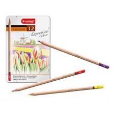 Estuche metal 12 lápices de colores Expression