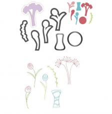 Troquel Framelit y sellos Sizzix. Jarrón flores