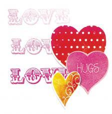 Troquel Framelit y sellos Sizzix. Corazones y Love