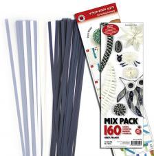 160 tiras de papel quilling 45 cm x 5 mm. Grises y negros