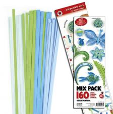 160 tiras de papel quilling 45 cm x 5 mm. Verde y turquesa