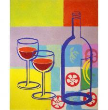 Bodegón copa vino. 50x61 cm