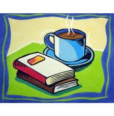 Café y libros. 38x46 cm
