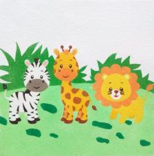Zebra, jirafa y león. 30x30 cm