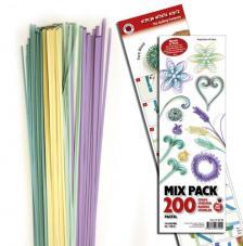 200 tiras de papel quilling 45 cm x 3 mm. Pastel Mix 1