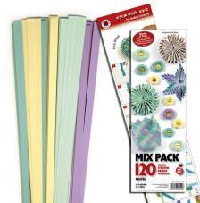120 tiras de papel quilling 45 cm x 10 mm. Pastel Mix 1