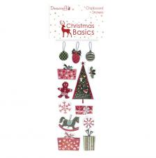 13 Chipboard adhesivos Christmas Basics