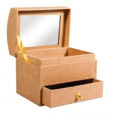 Baul joyero con espejo 10,3x7,7x9,2cm