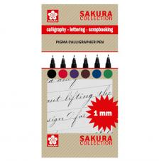 Set 6 rotuladores para caligrafia 1 mm. Sakura