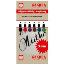 Set 6 rotuladores para caligrafia 3 mm. Sakura