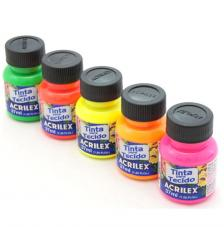 Pintura Textil FLUOR Acrilex 37 ml. 6 colores