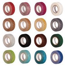 Washi Tape 15 mm x 15 mt.  16 colores Gliter