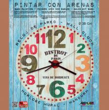 Set Pinta Reloj Pared con arenas. Bistrot Paris