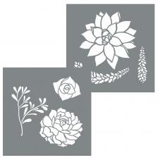 kit 2 Stencil 20,32x20,32 cm. Succulents